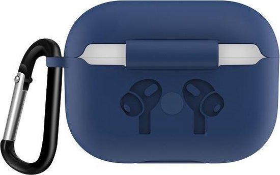 By Qubix - AirPods Pro siliconen hoesje met karabiner haak - Donkerblauw - AirPods hoesjes