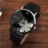 Hidzo Horloge Yazole Bloem Ø 37 - Zwart/Zilver