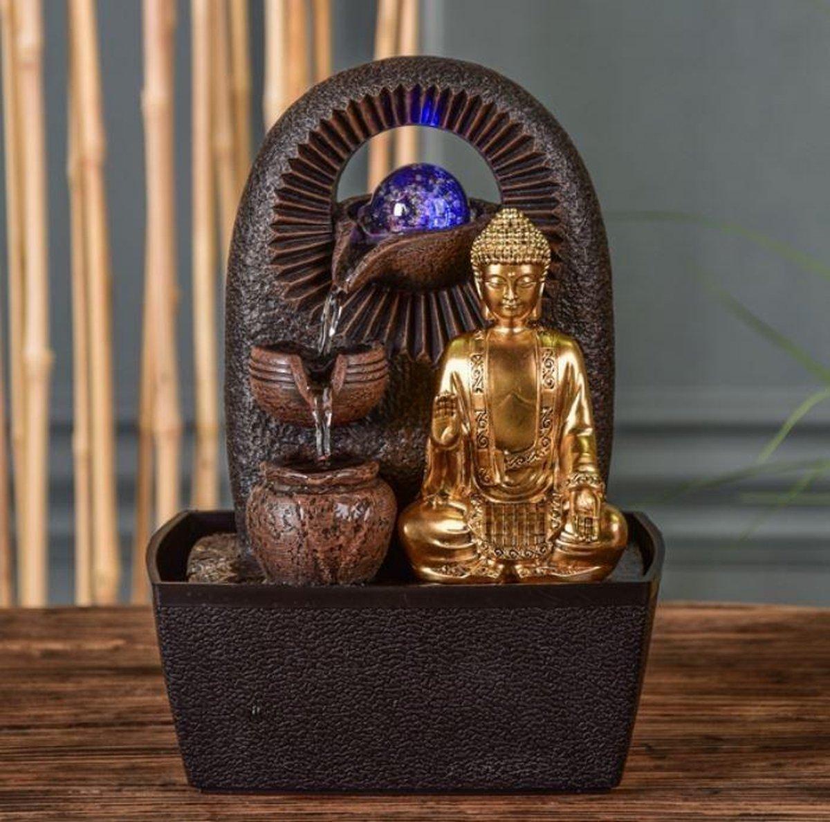 Boeddha Bhava Relax - fontein - interieur - fontein voor binnen - relaxeer - zen - waterornament - cadeau - geschenk - relatiegeschenk - origineel - lente - zomer - lentecollectie - zomercollectie - afkoeling - koelte