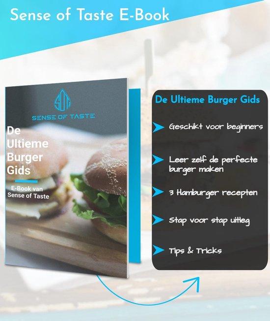 Hamburgerpers - Antiaanbaklaag - BBQ Set - RVS - Incl. 10x Waxpapiertjes