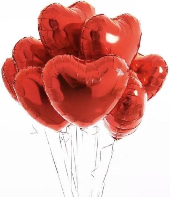 Hartjes Ballonnen Rood 5 Stuks | Folie Ballonnen set voor Valentijnsdag | Helium Ballon | Party Feest Blonnen | Romantische Versiering - 45cm