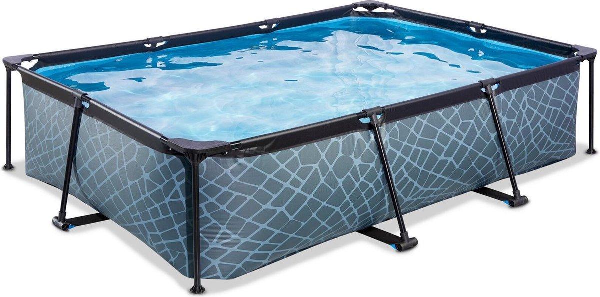 EXIT Stone zwembad 300x200x65cm met filterpomp - grijs