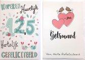 12,5 jaar Getrouwd  + …Jaar Getrouwd - 2 Wenskaarten – 12 x 17 cm