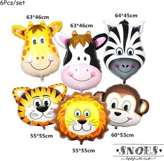 Snoes - Jungle - Safari - Dieren - Verjaardag Jungle - Thema Dieren - Thema Decoratie Ballonnen Verjaardag Versiering Set van 6 grote Dieren voor eerste kinderfeestje, themafeest. Ballon safari jungle set van 6