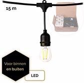 QHouse® Lichtsnoer – Lichtslinger - Tuinverlichting - Tuinverlichting LED Buiten - Prikkabel – 15 meter - E-27 fitting - Zwart