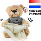 Lieffie Kiekeboe Beer – Nederlands Gesproken – Interactieve Peek A Boo Knuffel – Pratende Teddybeer – Speelgoed - 30 cm