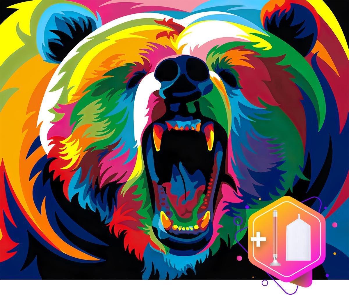 Pcasso® Beer Multicolor - Diamond Painting - Incl. LED-Pen, 4 Opzetstukjes En XXL Bakje - Diamond Painting Kinderen - Diamond Painting Dieren -Diamond painting volwassenen - 30x40 CM
