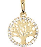 Schitterende 14K Gouden Halsketting met Levensboom met Zirkonia's