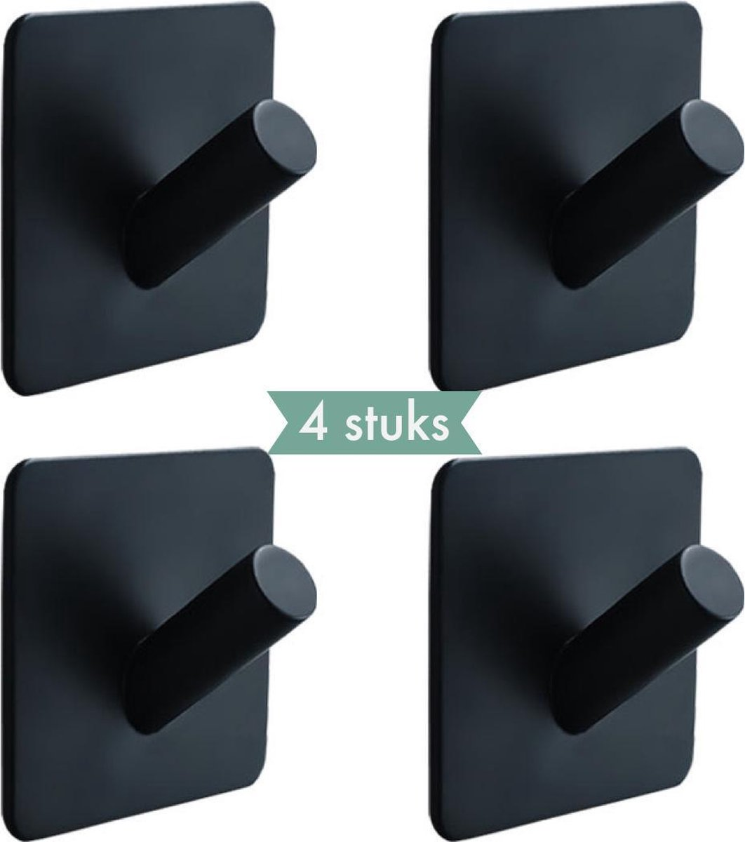 4x Handdoekhaakjes (Zelfklevend) van RVS Zwart - Zelfklevende Haakjes - Wandhaak - Handdoekhouder - Ophanghaken voor Keuken of Badkamer