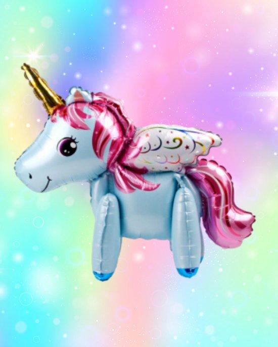 Unicorn Ballon - 3D Ballon - 60 x 68 cm - Inclusief Opblaasrietje - Ballonnen - Ballonnen Verjaardag - Helium Ballonnen - Folieballon - Paarden - Pony - Eenhoorn - Unicorn Versiering - Unicorn - Blauw