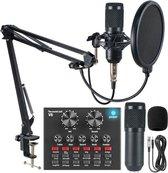 ComfiZone Studio Microfoon - USB - Microfoon - Met Pop Filter - Microfoon Arm - Zwart - Microfoon Voor PC - Laptop - PS5 - Playstation - Gaming - Mini Sound Card Mixer voor Live Streaming Met Stemvervormer & 12 Effecten