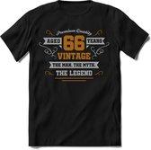 66 Jaar Legend - Feest kado T-Shirt Heren / Dames - Zilver / Goud - Perfect Verjaardag Cadeau Shirt - grappige Spreuken, Zinnen en Teksten.