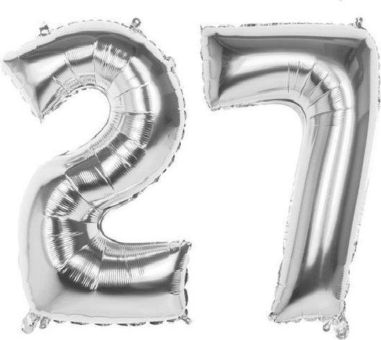 27 Jaar Folie Ballonnen Zilver- Happy Birthday - Foil Balloon - Versiering - Verjaardag - Man / Vrouw - Feest - Inclusief Opblaas Stokje & Clip - XXL - 115 cm