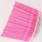 Lashes & More - 100 stuks  Wegwerp Microbrushes - Roze - Wimpers Uitbreiding  - Individuele Lash Verwijderen -  Wattenstaafje - Micro Borstel Voor Wimper Extensions Tool- microbrush