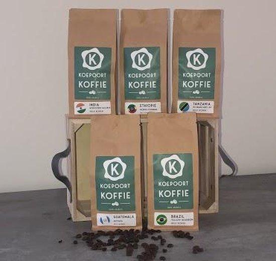 Koepoort Koffie Proefpakket 5x 250gr vers gebrande koffiebonen