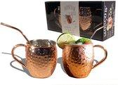 Chefs Cuisine moscow mule bekers - moscow mule - koperen beker - Incl. 2  RVS cups 500ml &  2 RVS rietjes