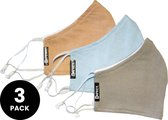 SAFECT Wasbare mondkapjes - 100% organisch katoenen mondmaskers - 3-pack (zalm, lichtgrijs, lichtblauw)