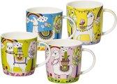 Agatha's Bester Lama Parade - Leuke Mokken - set van 4 grappige bekers met lama's - theemok / koffiemok