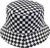 Bucket hat - Zwart Wit - Geblokt - Omkeerbaar - Zonnehoed - Regenhoedje