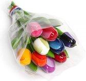 Houten tulpen decoratie boeket 20 cm - Gekleurde tulp bloemen boeket - Hollandse tulpen - Holland souvenirs
