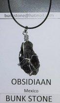 Obsidiaan - 100% natuurlijke Edelsteen - Bunkstone - Gratis verzending - Obsidiaan - Hanger - Spirituele steen - Anti allergisch -Gratis koordje