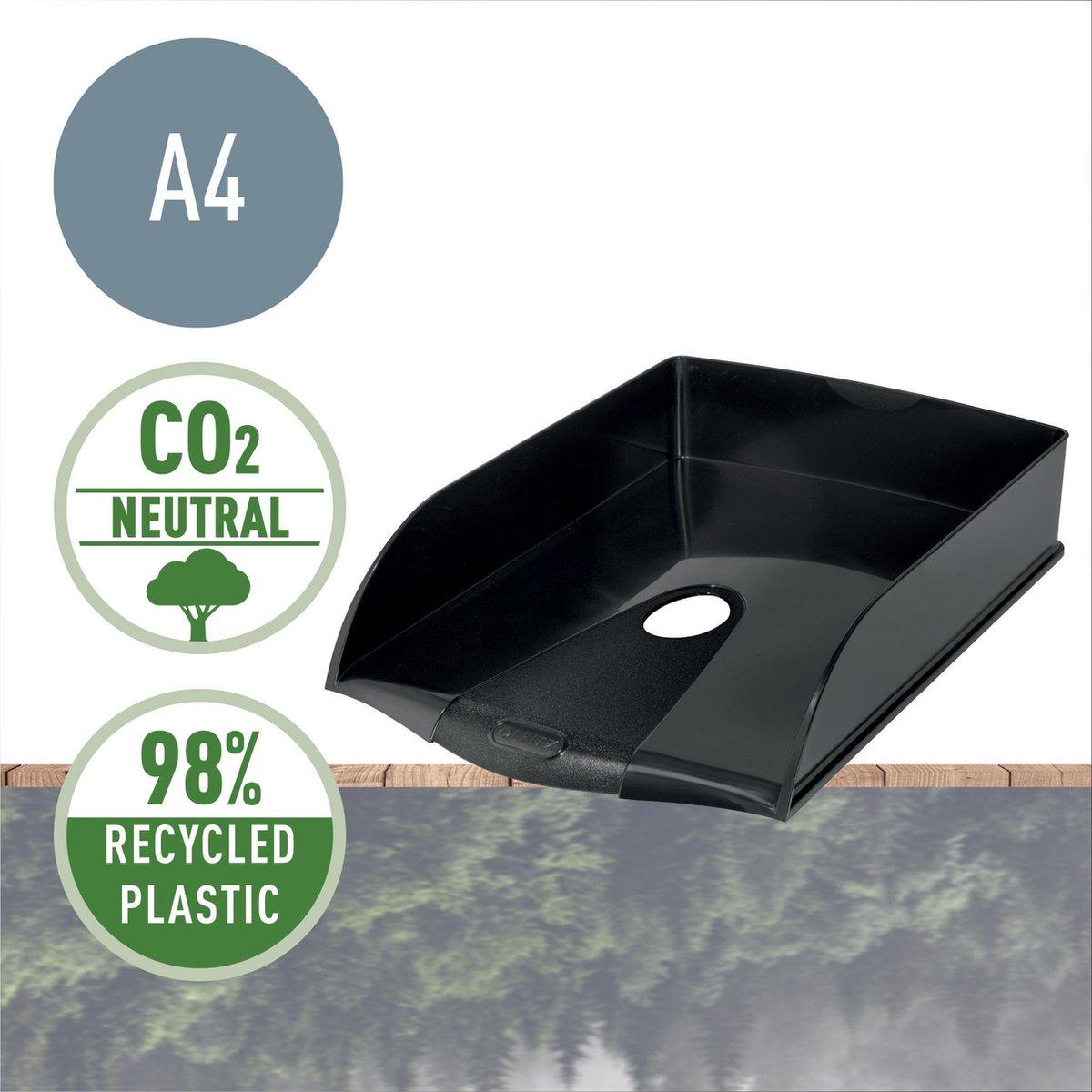 Leitz Recycle Brievenbak - Brievenhouder Voor A4 Documenten - Gemaakt Van 98% Gerecycled Plastic, 100% Recyclebaar - Zwart