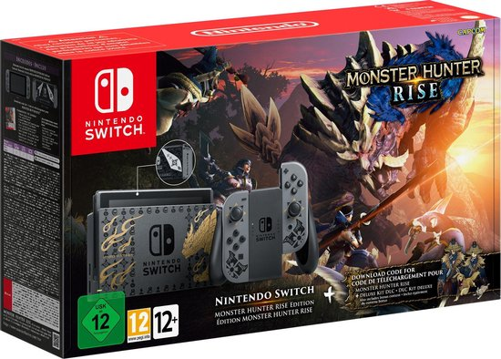 Afbeelding van Nintendo Switch Console - Zwart - Nieuw model - Monster Hunter Rise Limited Edition