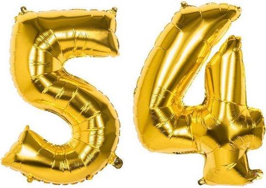54 Jaar Folie Ballonnen Goud - Happy Birthday - Foil Balloon - Versiering - Verjaardag - Man / Vrouw - Feest - Inclusief Opblaas Stokje & Clip - XXL - 115 cm