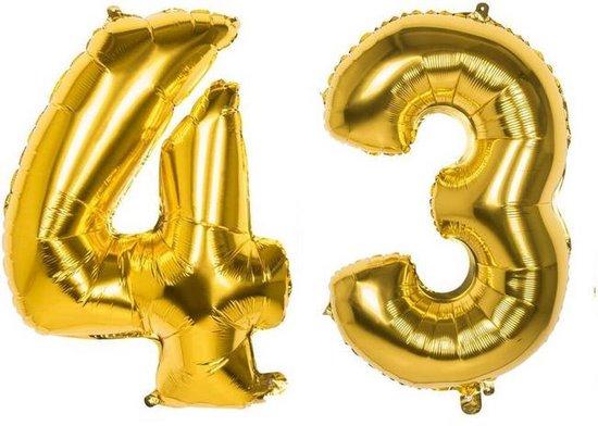 43 Jaar Folie Ballonnen Goud - Happy Birthday - Foil Balloon - Versiering - Verjaardag - Man / Vrouw - Feest - Inclusief Opblaas Stokje & Clip - XXL - 115 cm