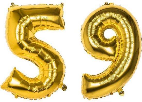 59 Jaar Folie Ballonnen Goud - Happy Birthday - Foil Balloon - Versiering - Verjaardag - Man / Vrouw - Feest - Inclusief Opblaas Stokje & Clip - XXL - 115 cm