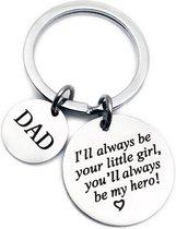 Sleutelhanger voor vader - vaderdag kados - cadeau - van dochter kado -  liefste papa geschenk - I'll always be your little girl - liefde -  cadeautjes mannen - sleutelhangers
