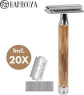 Safety Razor Bamboe Bambooya + 20 scheermesjes   Scheermes voor Vrouwen en Mannen   Double Edge Single Blade   Zero Waste Bamboo   Luxe en Duurzaam Scheermesje