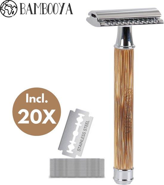 Safety Razor Bamboe Bambooya + 20 scheermesjes | Scheermes voor Vrouwen en Mannen | Double Edge Single Blade | Zero Waste Bamboo | Luxe en Duurzaam Scheermesje