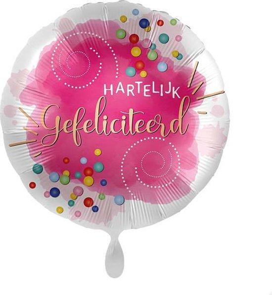 Everloon - Folieballon - Hartelijk Gefeliciteerd - 43cm - Voor Verjaardag