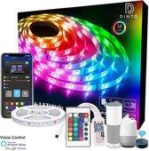DINTO Smart LED strip   5 Meter   RGB   Wifi + App   Google home + Alexa stembediening   16 miljoen kleuren   Dimbaar  