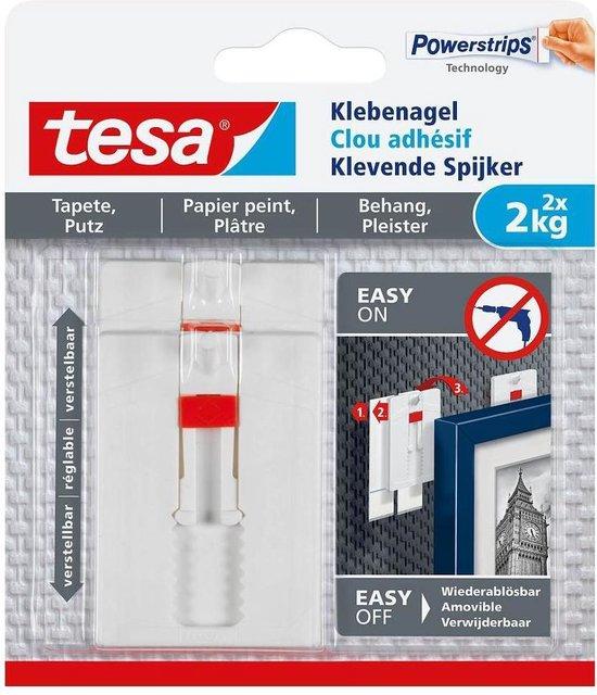 Tesa - 77777 - verstelbare klevende spijker voor behang en pleister - tot 2kg - 2 stuks - Tesa