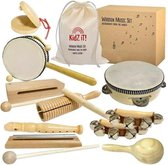 Kidz iT! Muziekinstrumentenset voor kinderen | Houten Speelgoed | 12-delige Instrumenten Set | Muziek voor kinderen | Luxe Houten Instrumenten | Duurzaam Muziekspel + Draagtas