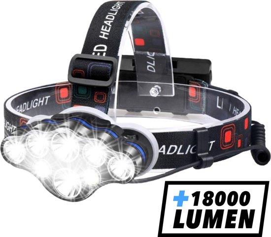 Hoofdlamp - Hoofdlamp LED oplaadbaar - Hoofdlampje - 8 LED-koplampen - 18000 lumen - 500 meter bereik - Verstelbaar