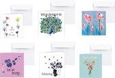 Beterschap - beterschapskaarten - opkikker - luxe bloemenkaarten - 6 st