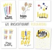 Kimago.nl - wenskaarten - kaartenset - ansichtkaarten - Verjaardag - kaarsjes - 6 stuks