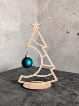 Decoratie kunstkerstboom hout klein sfeervol 20 cm kerstbal hanger/houder, binnen, woonkamer