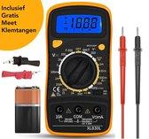 Novalits® Digitale Multimeter - Slimme Spanningsmeter - Voltmeter - Voltage Meter - Incl. Gratis Meet Klemtangen & 9V Batterij