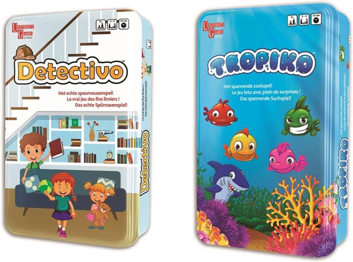 2 spannende spellen voor kinderen. Tropiko en Detectivo. Spelletjes Reiseditie in stevig blik. Vanaf 5 jaar.