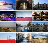 Cadeautip! | Luxe ansichtkaarten set Nederland 10x15 cm | 24 stuks | Wenskaarten Nederland