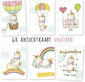 Kimago.nl - wenskaarten - kaartenset - ansichtkaarten - verjaardag - unicorn - 6 stuks