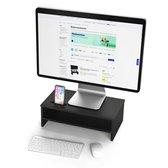 LifeGoods Monitor Verhoger (Compact) - Laptop Standaard met Telefoonhouder - 42,00 x 23,50 cm x 14,20 - Hout - Zwart