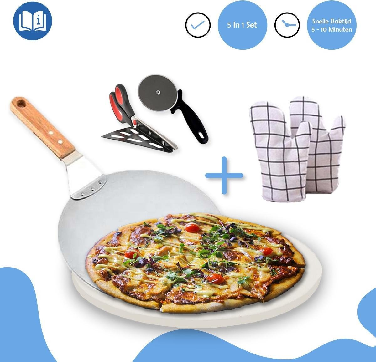 Fastella 5-in-1 Pizza Set - Pizzasteen BBQ - Barbecue & Oven - Ø 33 cm - 800°C - Cordieriet - Wit - Schaar, Mes & Schep - Incl. Ovenwanten