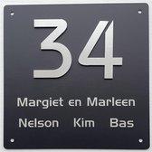 Zwart rvs naambordje voordeur met opliggende rvs cijfers 20x20cm | zwart rvs naamplaatje