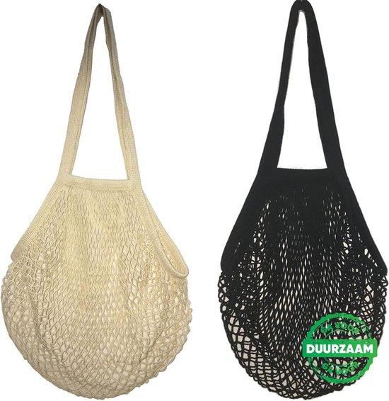 2x XL Zero Waste Nettas Herbruikbare Boodschappentas / Groenten- en fruittas / Eco Bag / Zwart en Beige