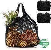 2x Zwarte Zero Waste Nettas Herbruikbare Boodschappentas / Groenten- en fruittas / Eco Bag